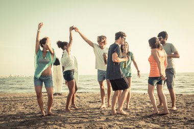 Group of Friends Having a Party on the Beach