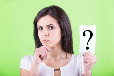 Doubtful Woman Holding Question Mark stock vector