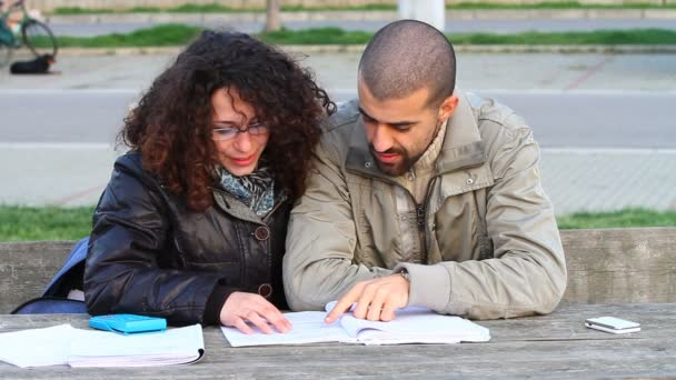 Two Friends Studying Together Outside