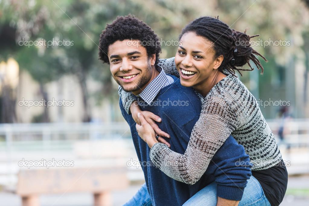Mixed-Race Couple, Piggyback