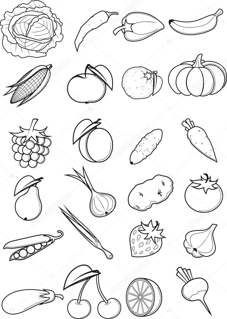 Распечатать фрукты и овощи на одной картинке