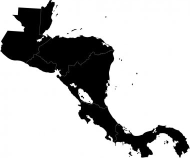 Black Central America map