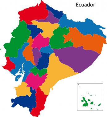 Colorful Ecuador map