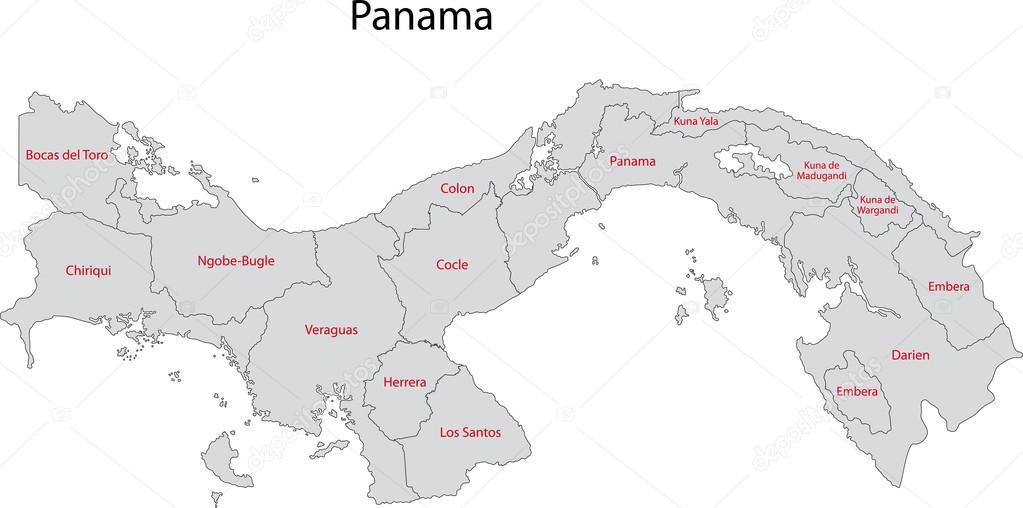 Gray Panama Map Stock Vector Volina - Panama map vector