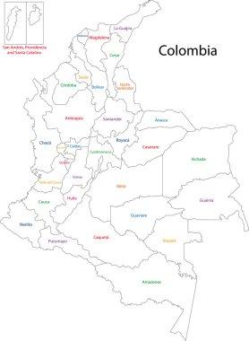 Contour Colombia map