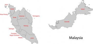 Grey Malaysia map