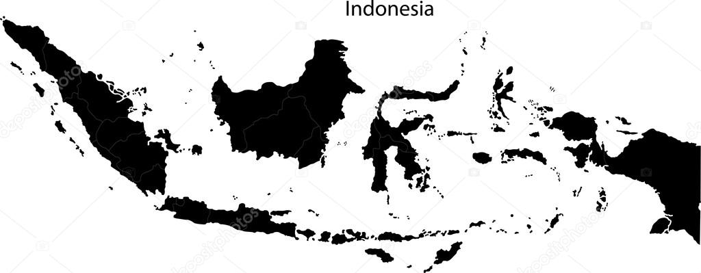 Black Indonesia Map Stock Vector Volina - Indonesia map