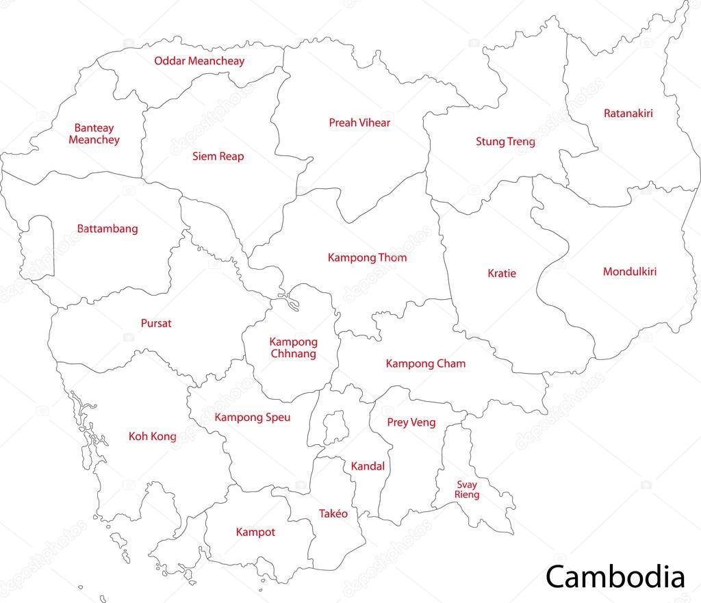 カンボジアの地図を輪郭します。...