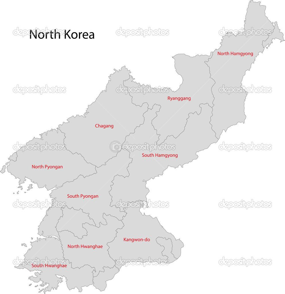 Grey North Korea map Stock Vector Volina 32475249