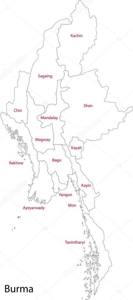 Carte Birmanie A Telecharger.Carte Contour De Birmanie Image Vectorielle Volina C 32476027
