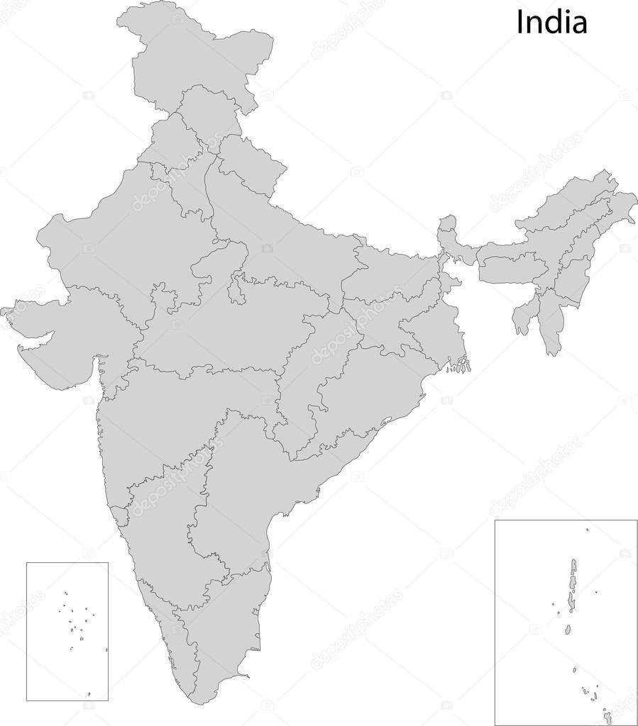Grey India Map U2014 Stock Vector