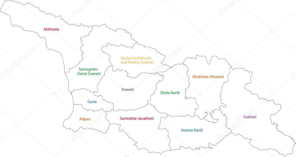 Mapa De Georgia Del Contorno Vector De Stock - Mapa de georgia