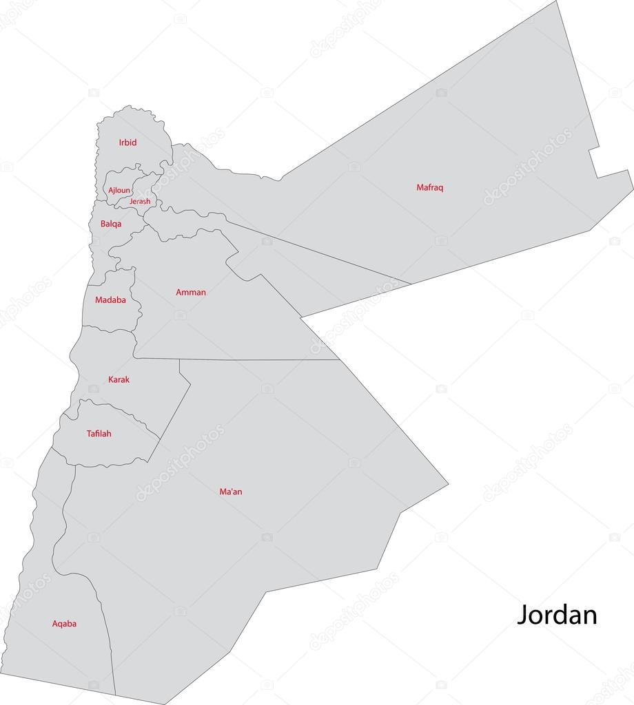 Grey Jordan Map Stock Vector Volina - Jordan map download