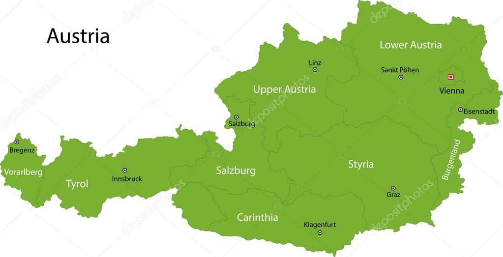 karta österrike gröna Österrike karta — Stock Vektor © Volina #32495621 karta österrike