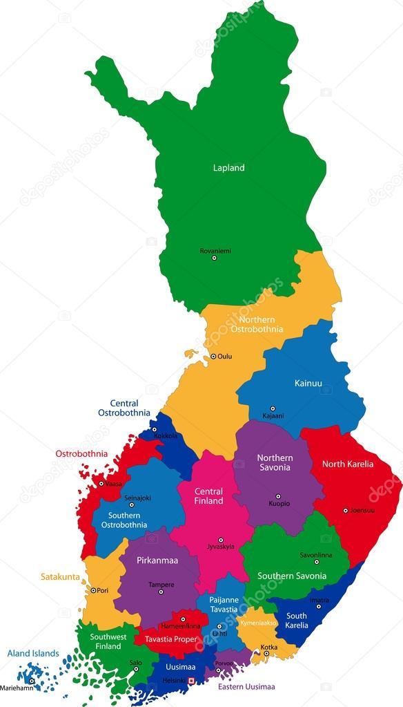finlandia mapa mapa de Finlandia — Archivo Imágenes Vectoriales © Volina #32496169 finlandia mapa