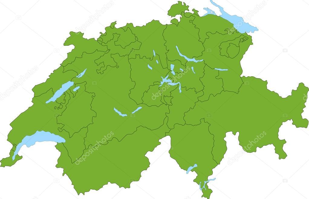緑のスイス連邦共和国の地図 — ...