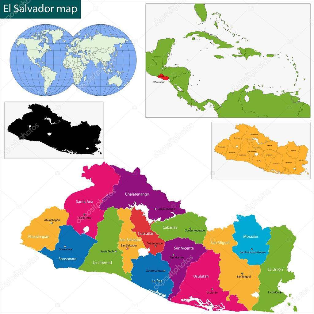 El Salvador Map €� Stock Vector #37011837