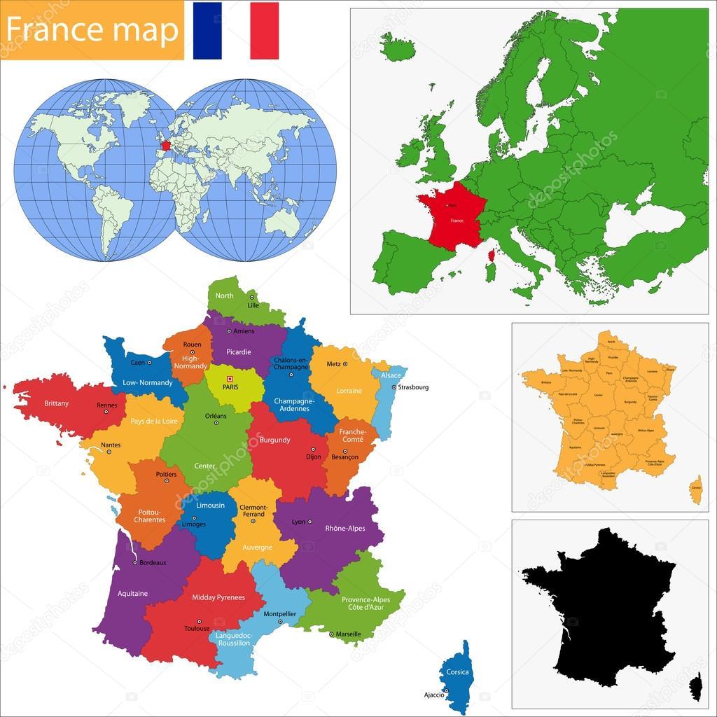 フランス地図 — ストックベクタ...