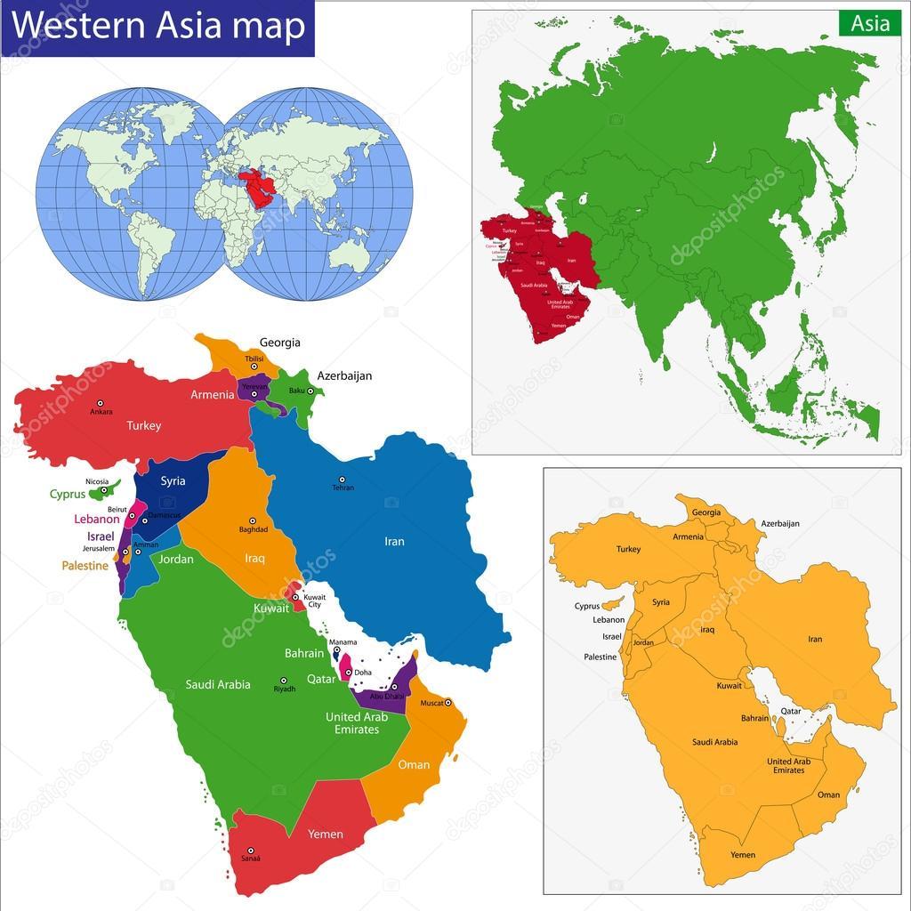 mapa da asia ocidental mapa de Ásia Ocidental — Vetor de Stock © Volina #37192915 mapa da asia ocidental