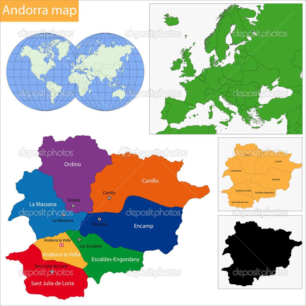 Kaart Van Andorra Stockvector C Volina 38623787