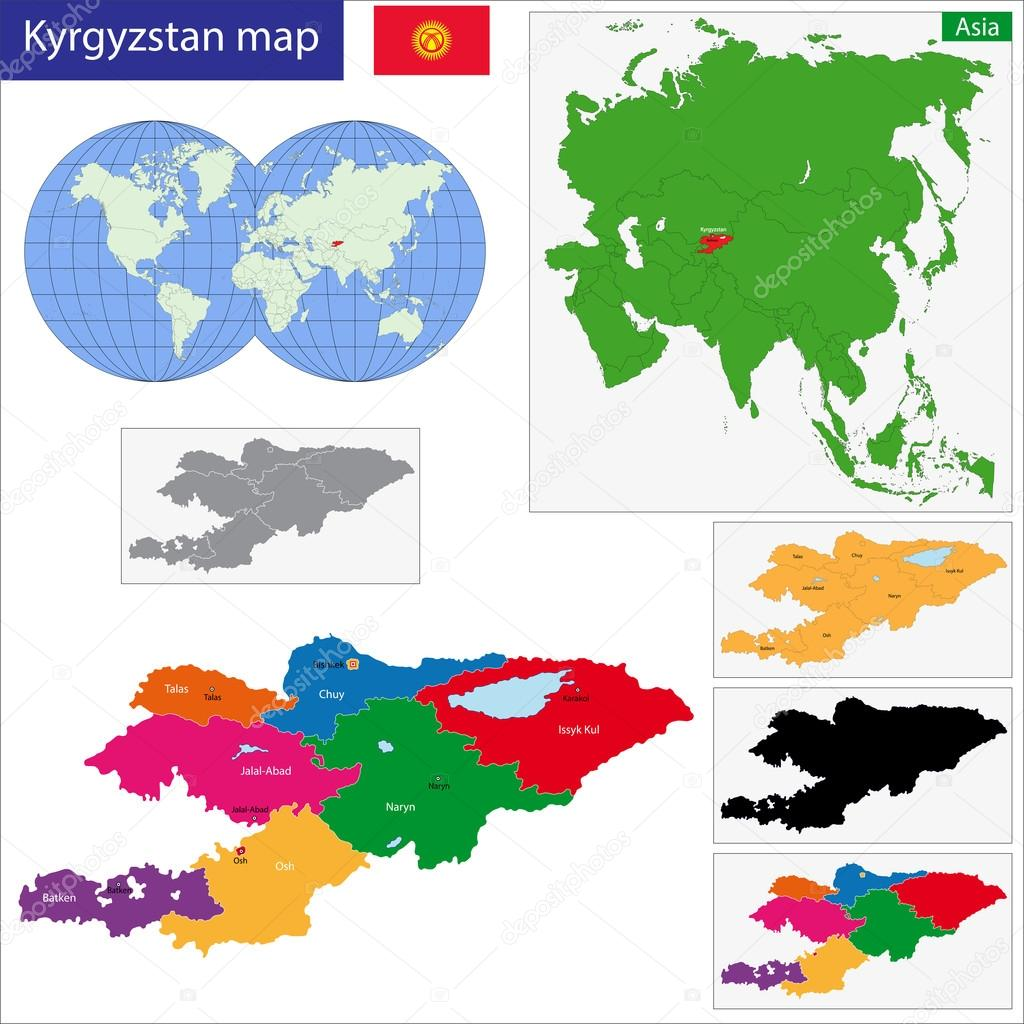 Kyrgyzstan map Stock Vector Volina 42811947