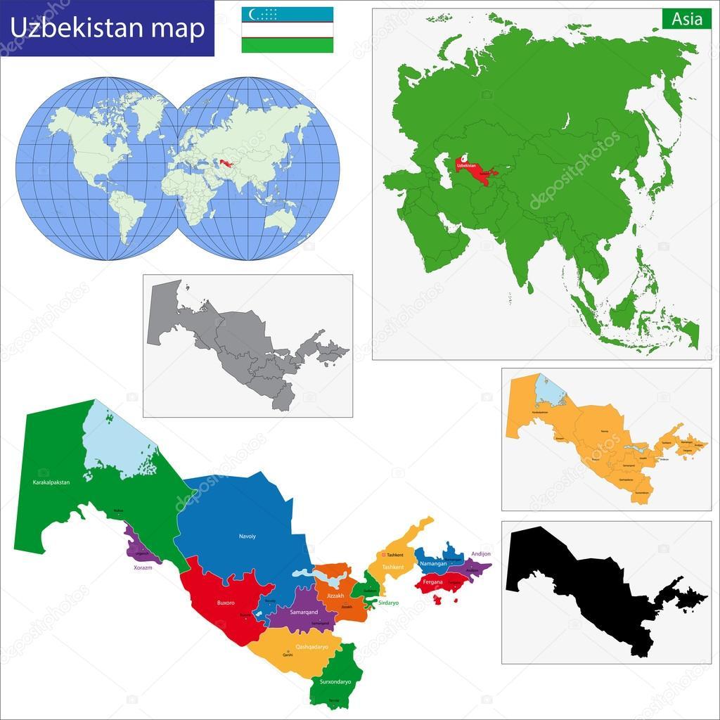 Uzbekistan Map Stock Vector Volina - Uzbekistan map