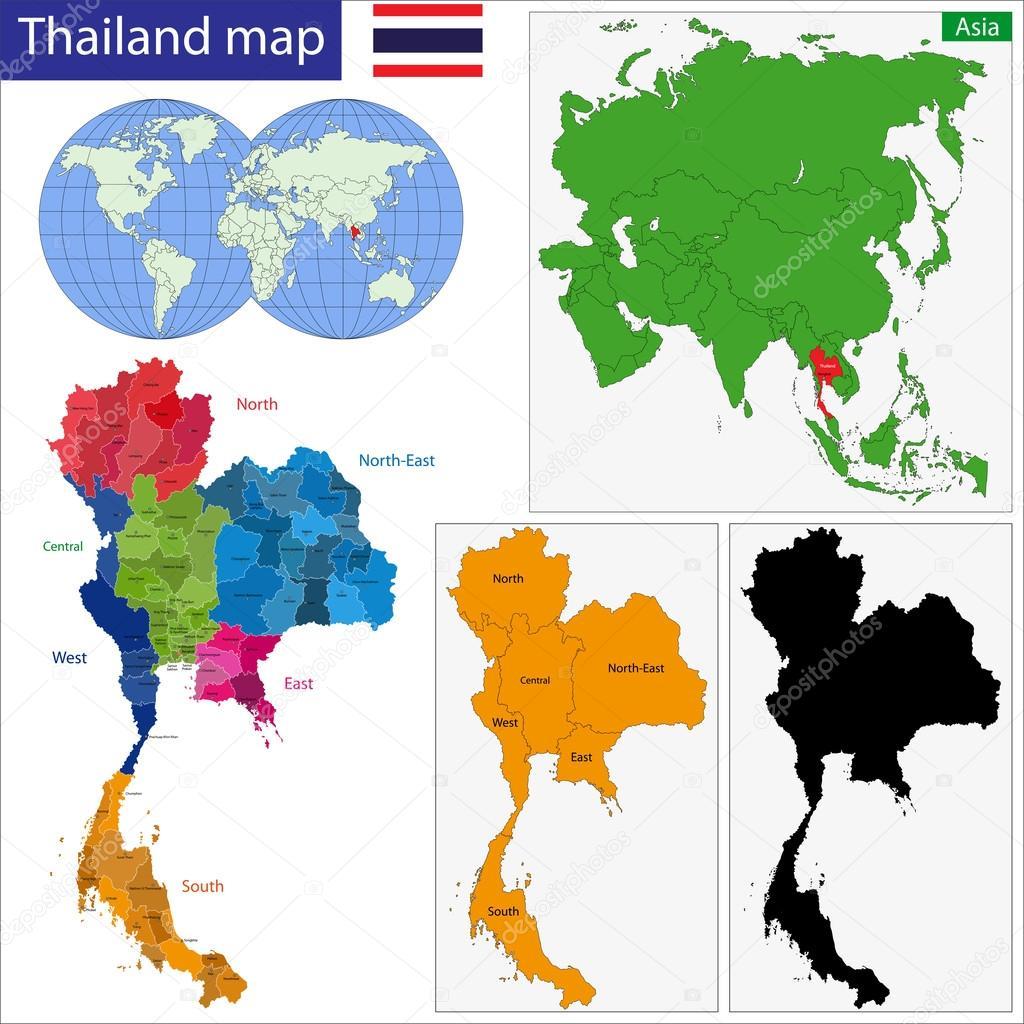 タイ王国の地図 — ストックベクタ