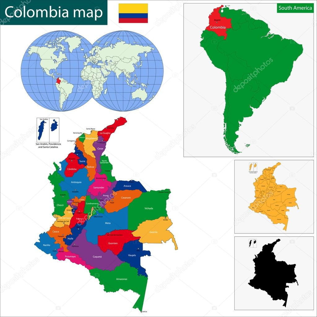 Colombia map Stock Vector Volina 46174321