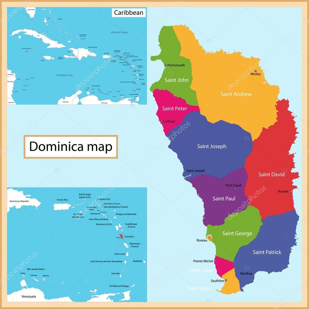 Dominica Map Stock Vector Volina - Map of dominica caribbean sea