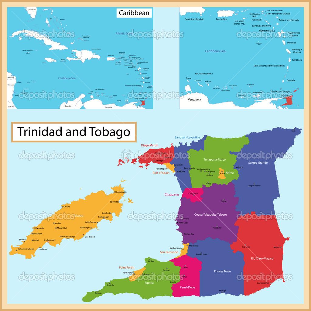 Trinidad And Tobago Map Stock Vector C Volina 51114657