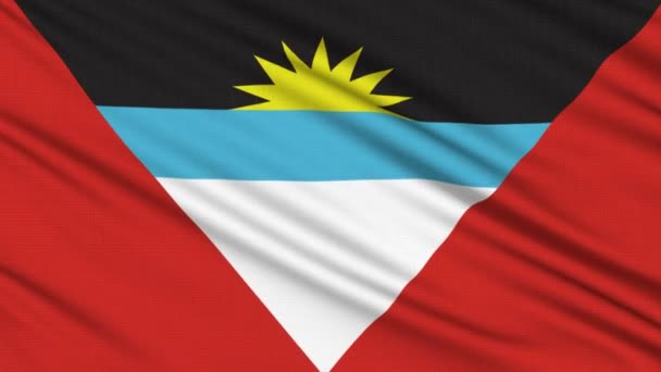 Antigua and Barbuda flag, with real structure of a fabric