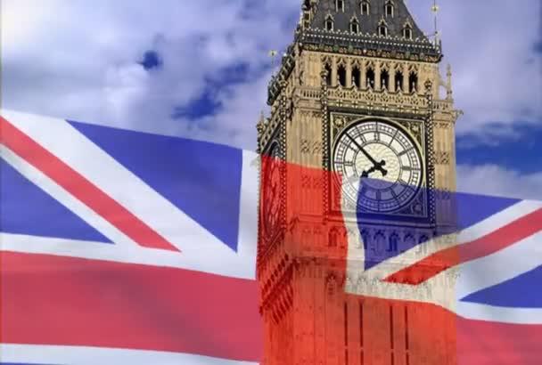 Vlajka Anglie na pozadí bigben