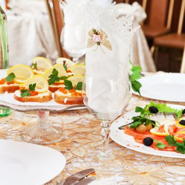 Wedding table setting stock vector