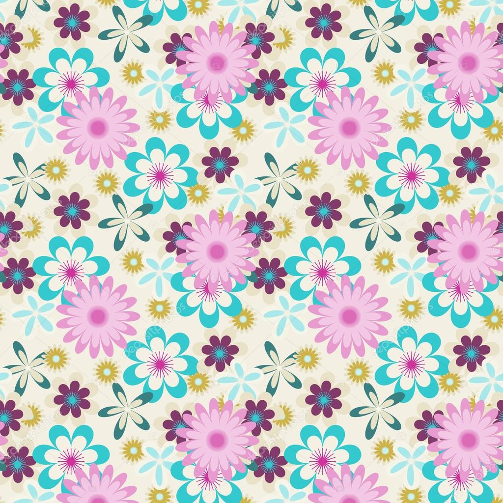 Seamless pink blue flowers on white background