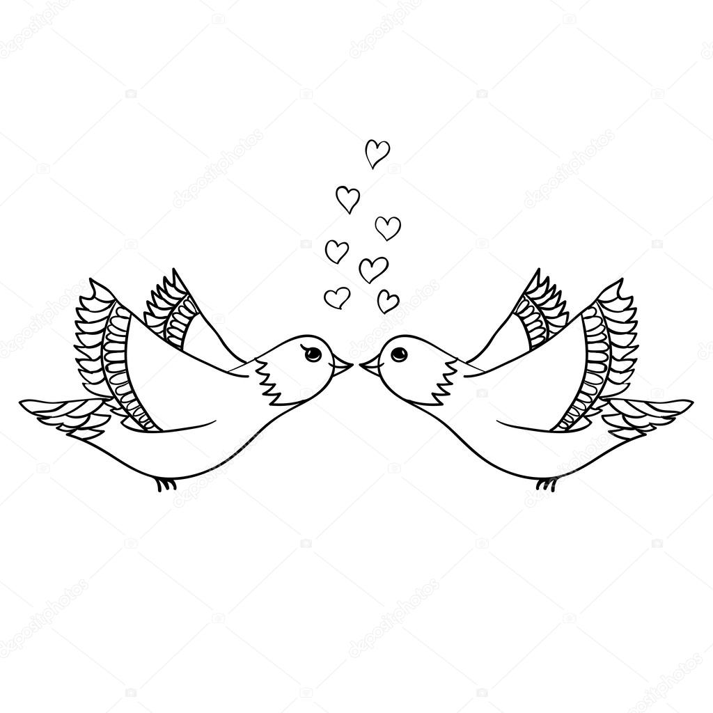 Drawings Sketch Of Love Birds Vector Sketch Love Birds Stock Vector C Enkaparmur 37594173