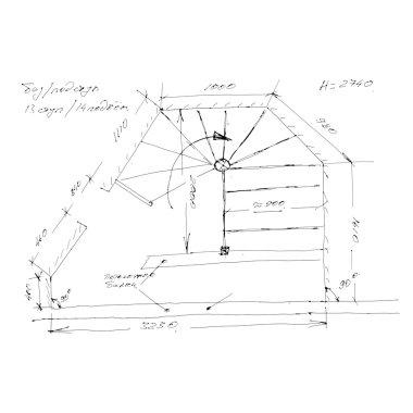 Stair draft sketch.
