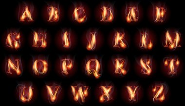 burning letters set