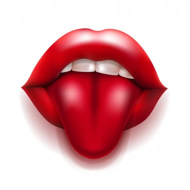 mouth with red lips and tongue