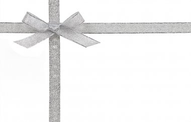 Gift concept - Silver bow and ribbon isolated on a white backgro
