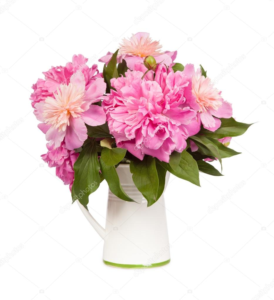 Beautiful bouquet of flowers - peonies. Isolated on white backgr