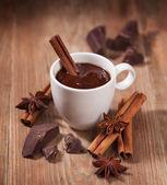 Photo Hot chocolate, chocolate chips, cinnamon and star anise