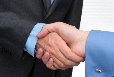 Businessmen shaking hands closeup