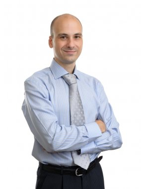 Portrait of young happy smiling business man, isolated over whit