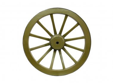 Big old wooden green wheel on white background. Isolated with clipping path stock vector