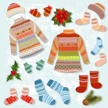 set of warm winter clothing