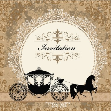 card design with vintage carriage