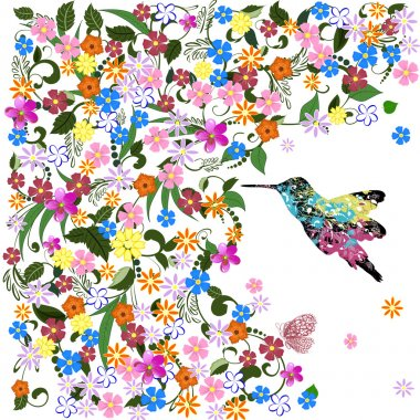 Art grunge floral pattern with bird