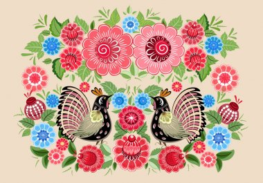 Fairy birds in flowers