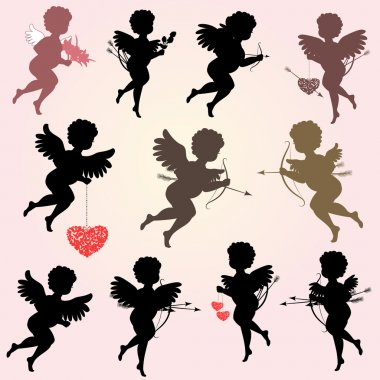 Angels with arrows for your design clip art vector