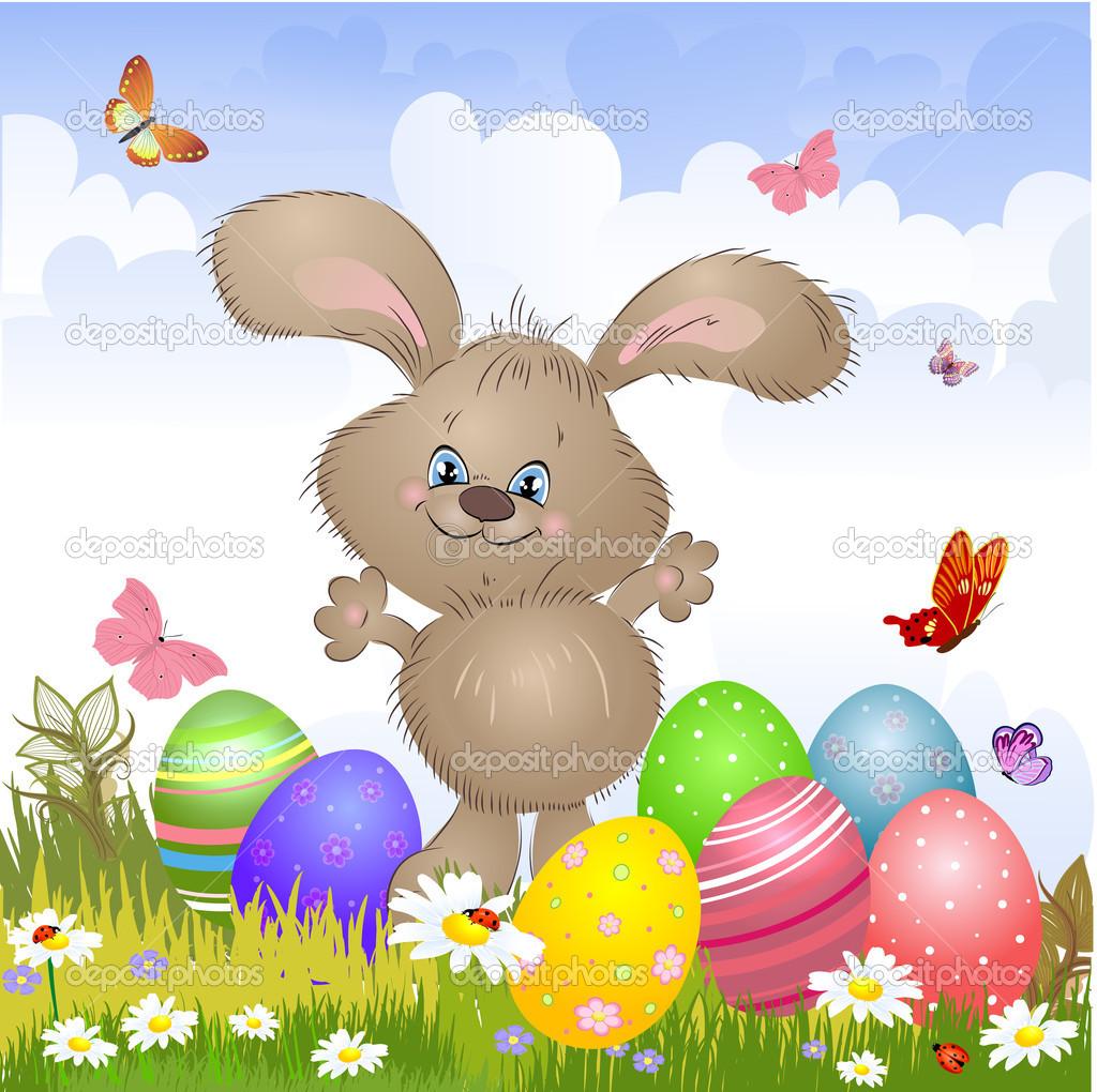卡通快乐兔子复活节卡 u2014 图库矢量图像 oksana 21741255